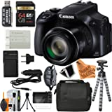 Canon PowerShot SX60 HS Digital Camera ULTIMATE PRO BUNDLE with 16.1MP, 65x Optical Zoom, 64GB Card + Reader + Grip + Spare Battery and Charger + Tripod + Complete Super Savings Accessory Bundle