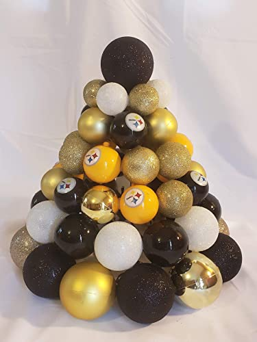 pittsburgh steelers pre lit centerpiece christmas tree made from ornaments multi color