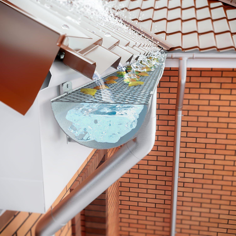 color negro Elibeauty Malla protectora para canalones de techo para canalones evita el drenaje. 1 unidad