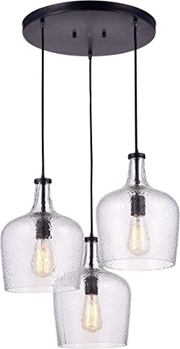 Jojospring Belinda Mouth-Blown Clear Glass Cluster Pendant Chandelier in Antique Black Finish