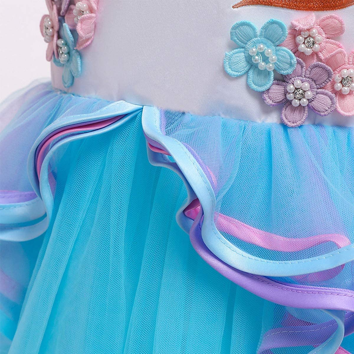 IZKIZF Girls Unicorn Costume Princess Long Maxi Tulle Dress w//Headband Birthday Party Carnival Cosplay Dress Up Outfits