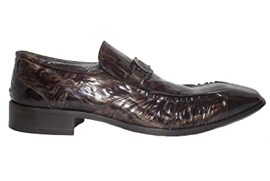 5054 Italian mens brown patent leather slip-on-shoes w/decoration