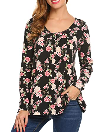 c01c841bd87f57 Zeagoo Women s Casual Long Sleeve Floral Tunic Shirts Pleated Print Flowy A  Line Loose Blouse Tops
