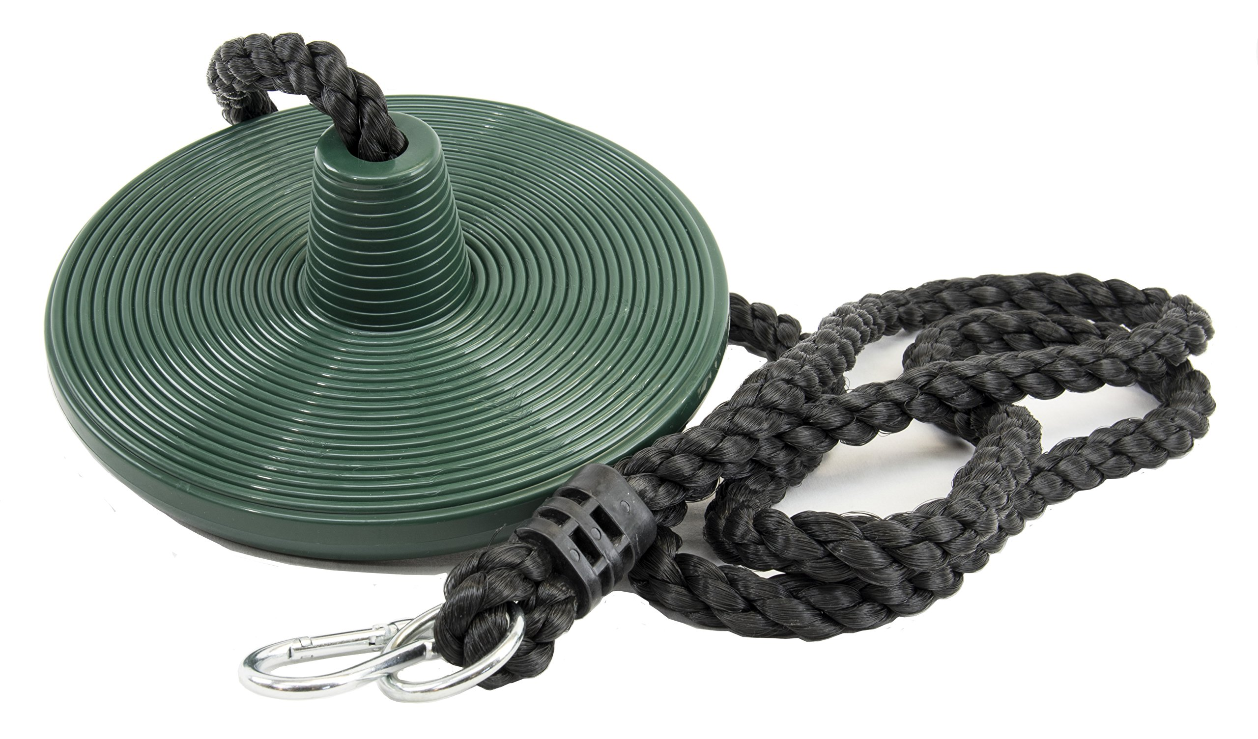 Squirrel Products Heavy Duty Plastic Tree Swing - Disc Rope Swing with Leg Protectors - Additions & Replacements - Outdoor Play Equipment - Green by Squirrel Products