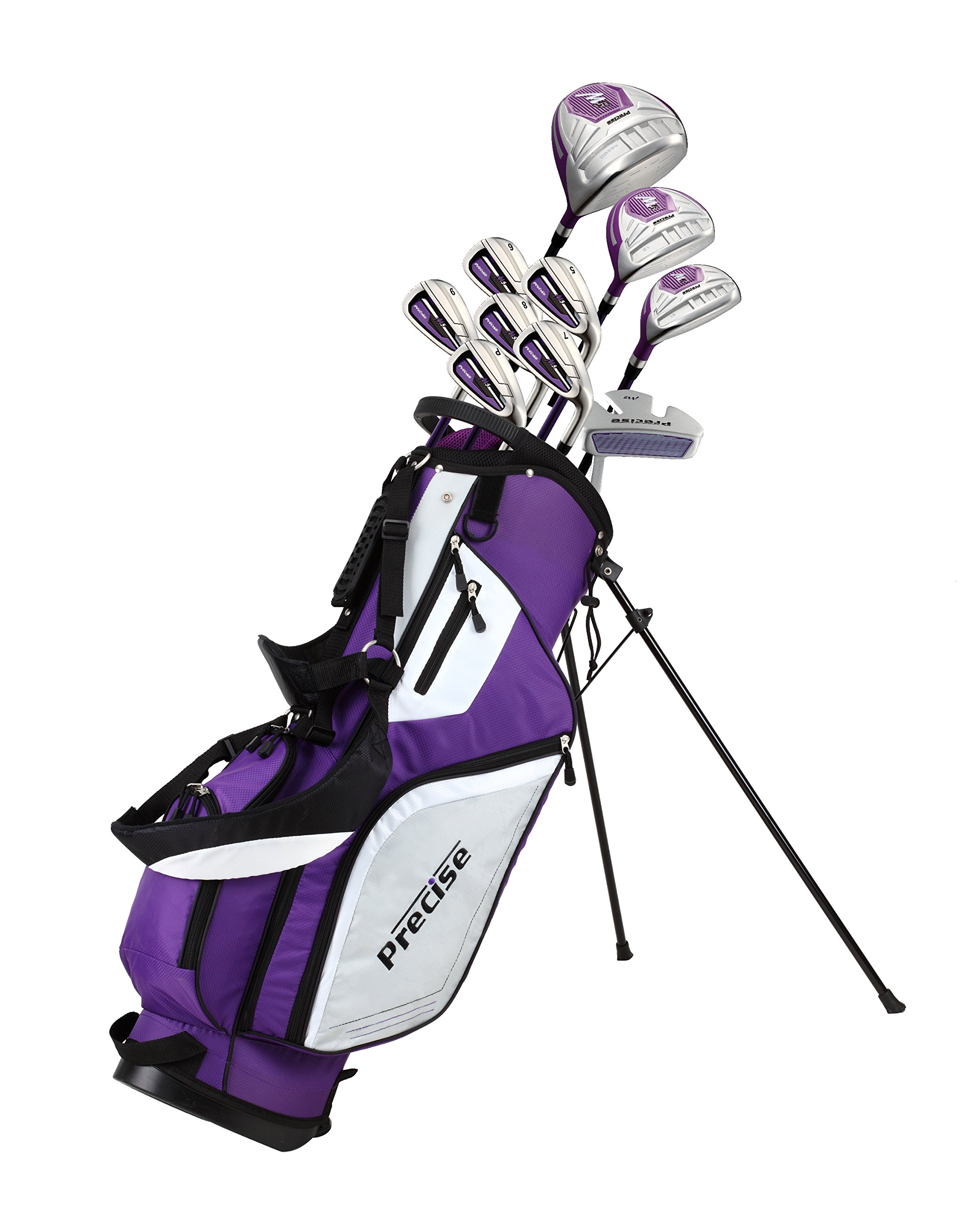 Precise M5 Ladies Womens Complete Right Handed Golf Clubs Set Includes Titanium Driver, S.S. Fairway, S.S. Hybrid, S.S. 5-PW Irons, Putter, Stand Bag, 3 H/C's Purple (Right Hand Petite Size -1'') by PreciseGolf Co. (Image #1)