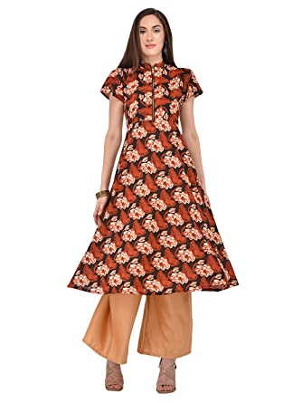 ace1b189085 Ives Flared Multi Cotton Floral Casual Kurti For Women  Amazon.in  Clothing    Accessories