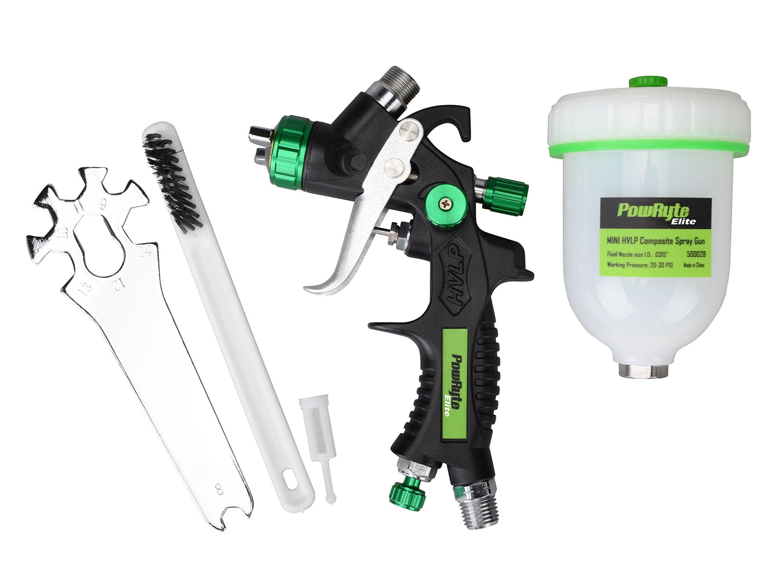 PowRyte Elite 4.2 Oz Composite Mini HVLP Gravity Feed Air Spray Gun - 0.8mm Nozzle by PowRyte (Image #6)