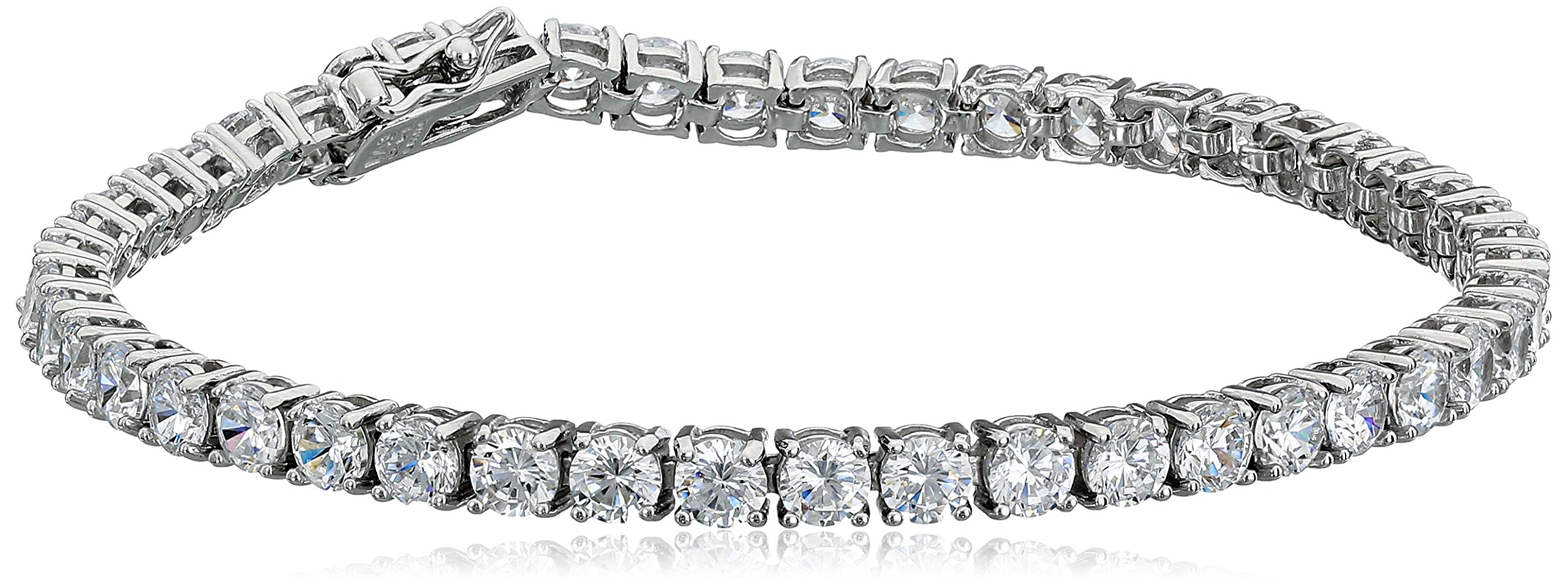Platinum Plated Sterling Silver Round Cubic Zirconia Tennis Bracelet (4mm), 7.25''