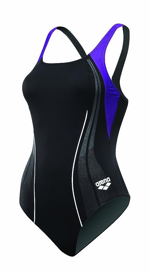 b38b8612ee1 arena Girl's Mainsail Jr. Race Polyester Splice V-Line Back Swimsuit  (Blueberry,