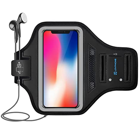Lovphone I Phone X/Xs Armband Sport Running Exercise Gym Sportband Case For I Phone X/I Phone Xs,With Key Holder & Card Slot,Water Resistant And Sweat Proof(Gray) by Lovphone
