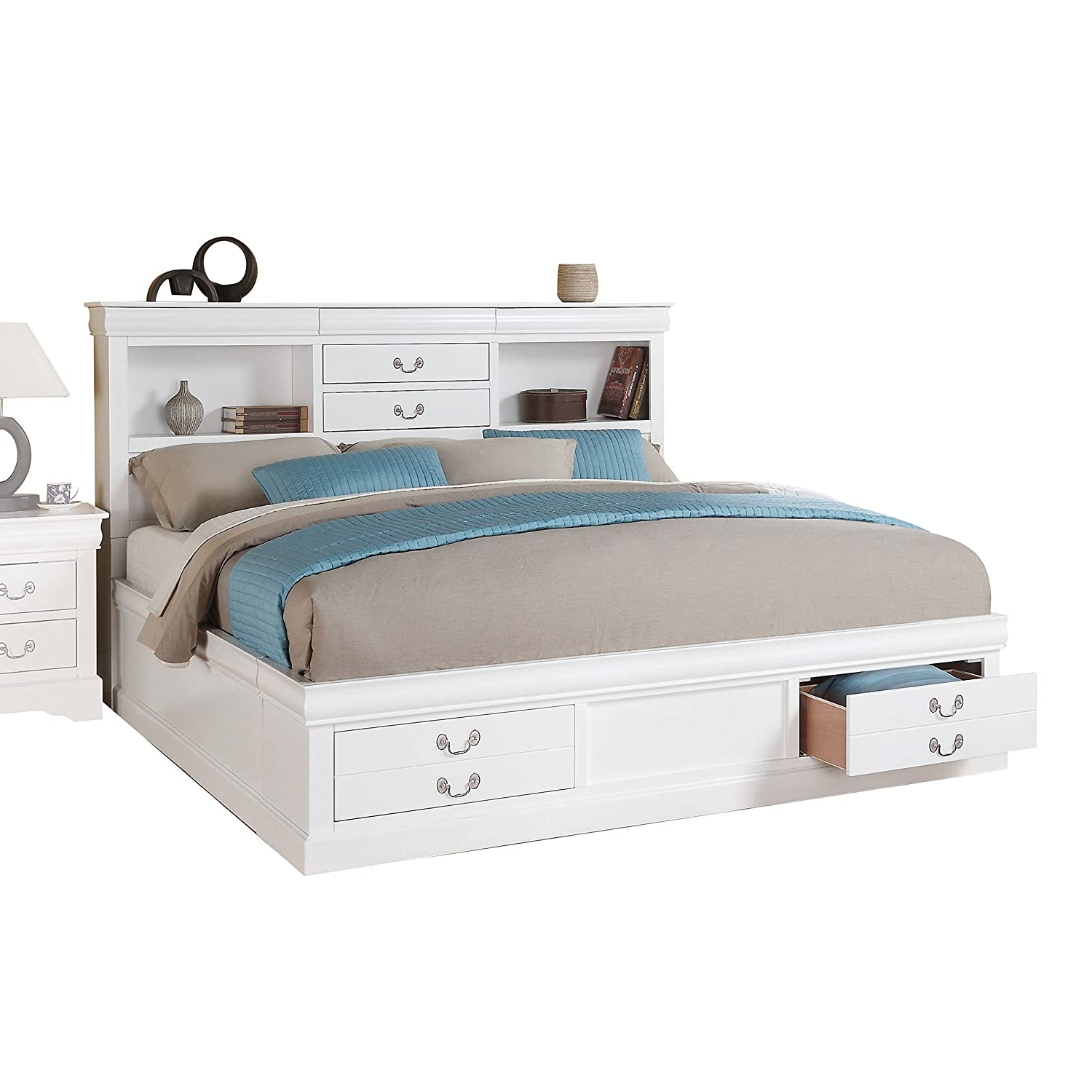 Amazoncom Acme Furniture Louis Philippe Iii 24490q Queen Bed With
