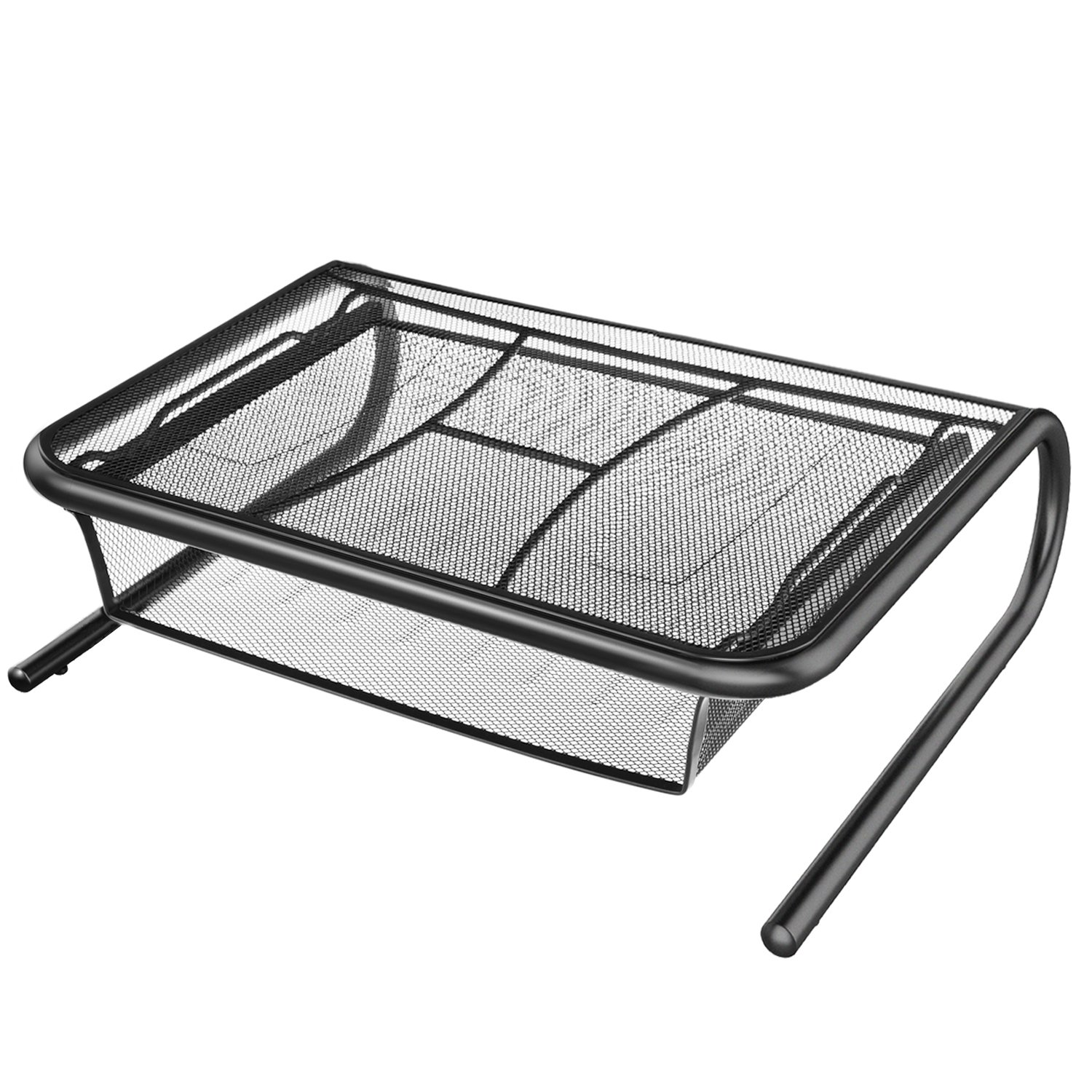 Monitor Stand Riser with Pull Out Storage Drawer - Mesh Metal Printer Holder with Ventilated Surface for Computer, Laptop, Printers - Keeps Your Devices Cool & Prevents Overheating - Premium Computer by HUANUO (Image #1)