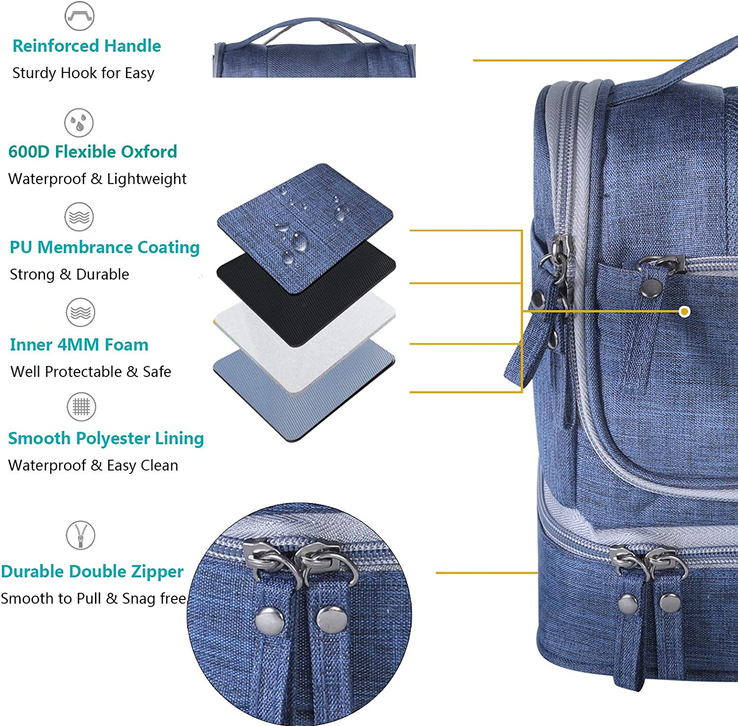Hanging Travel Toiletry Bag for Men and Women – Multifuncation Waterproof Cosmetic Bag or Organizer Bag Portable Makeup Pouch by HOKEMP