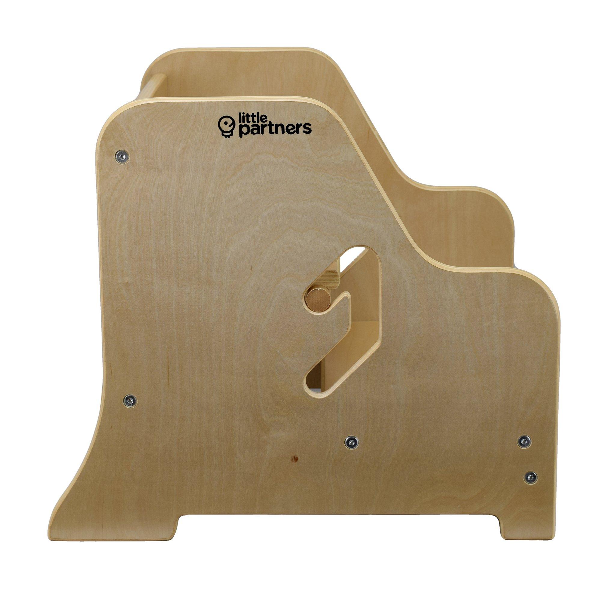 Little Partners Toddler Step Up Stool | 2 Step Adjustable Height for Kitchen, Bathroom or Nursery (Natural)