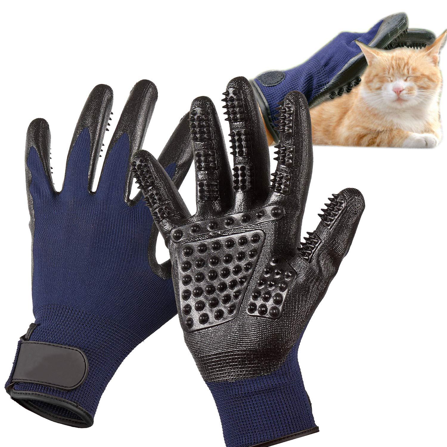 MMTX Pet Massage Gloves - 1 Pair Rubber Deshedding Brush Glove Pets Hair Remover Mitts Pet Bath Grooming Massage Tool for Cats and Dogs with Long & Short Fur