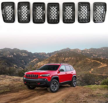 XBEEK 7pcs Clip-in Grille Cover Grill Ring Inserts Frame Trims Kit for 2017-2019 Jeep Compass Chrome