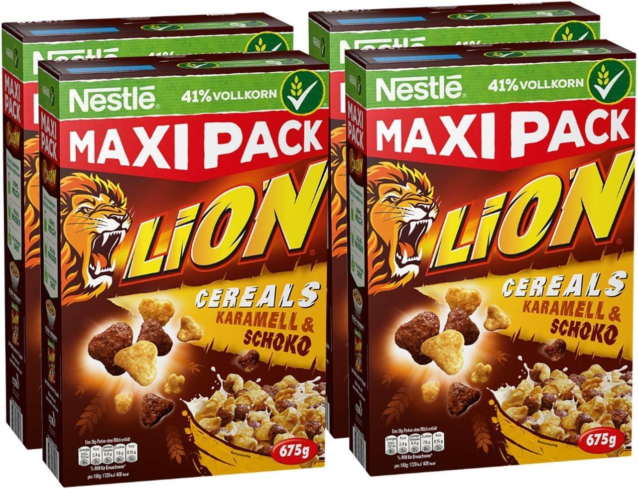 Nestlé Lion Cereals, caramelo y Chocolate cereales con Completo grano, 4 unidades (4 x 675 g): Amazon.es: Alimentación y bebidas