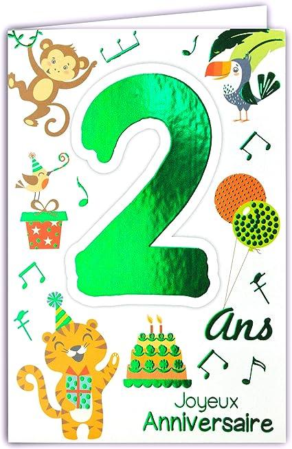 carte anniversaire 2 ans garçon Carte Joyeux Anniversaire 2 ans Enfant Garçon Fille   Couleur