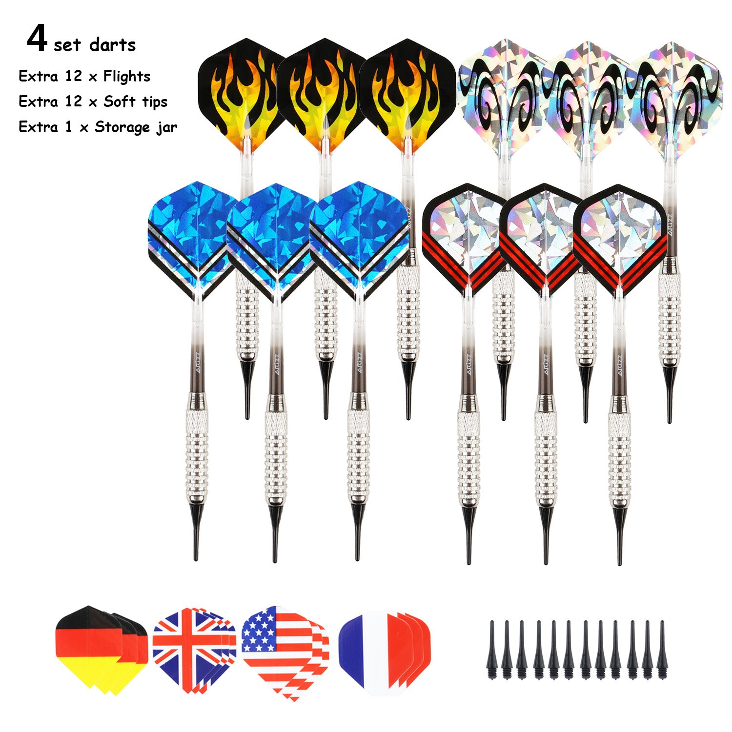 Misayar ARIZZ 12 Pcs Soft Tip Darts 17 Grams with 8 Style 24 Flights and 24 Soft Tip Points for Electronic Dartboards