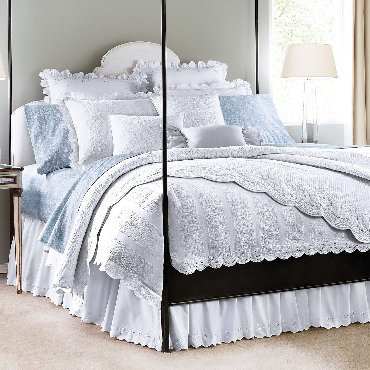 Amazon.com: Lauren By Ralph Lauren Spring Hill Bedding Blue U0026 White Floral  Scroll KING Flat Sheet: Home U0026 Kitchen