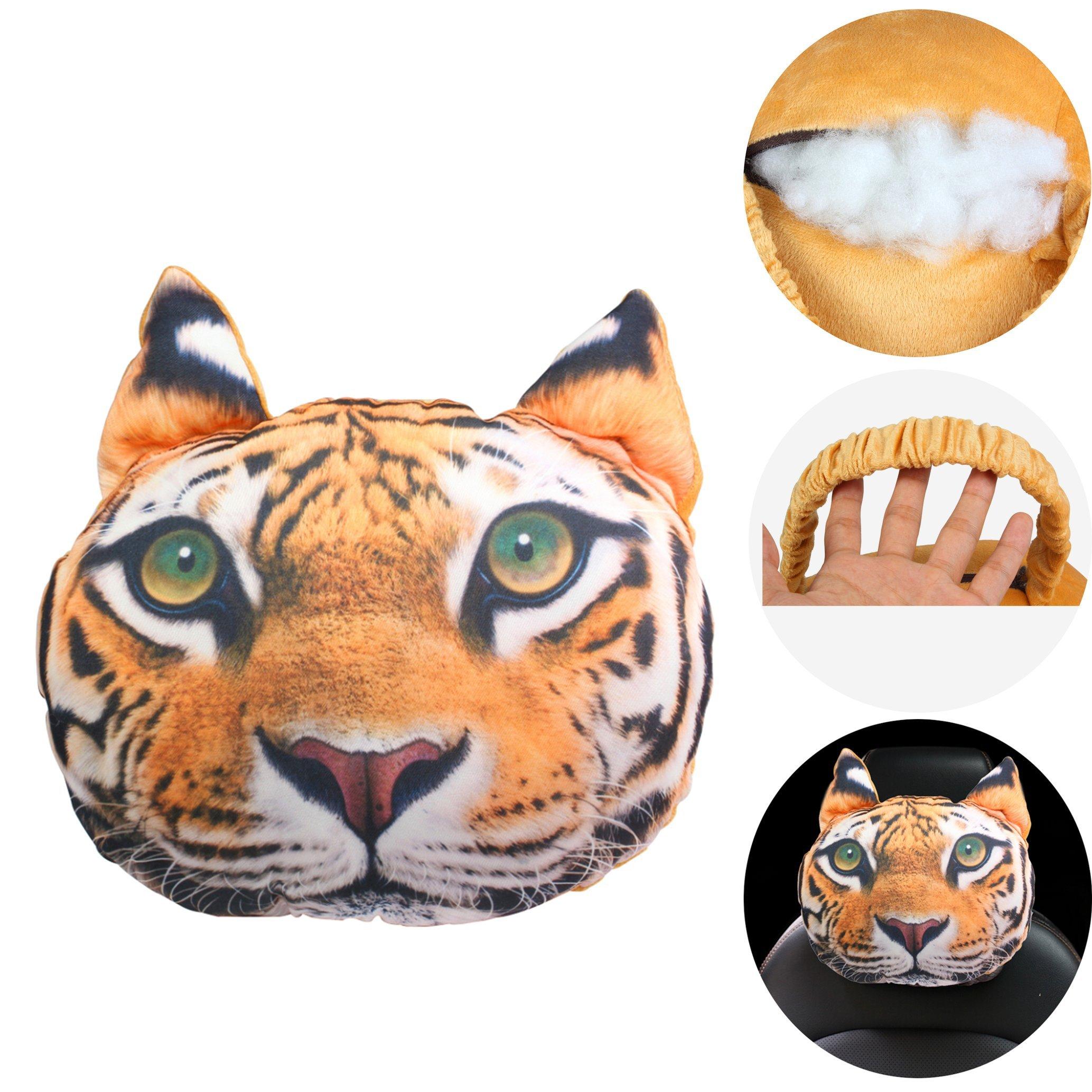 KOSBON Cute Animal 3D Dog Car Neck Pillow Lovely Auto Neck Rest Cushion Headrest Pillow Pad (Tiger)