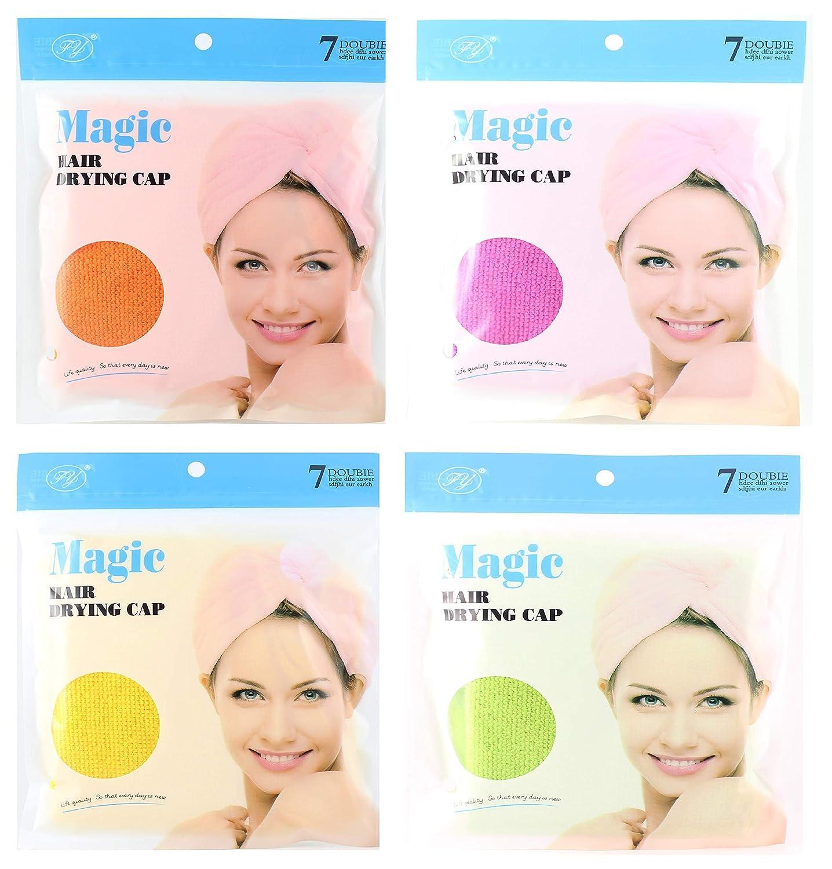 Magic Hair Drying Cap Microfiber Absorbent Cloth 4 colors, 4 count 7 Doubie