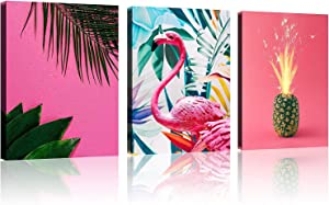 """TutuBeer 3 Panels Tropical Wall Decor for Bedroom Tropical Wall Decor Pink Flamingo Decor Pineapple Wall Art Tropical Wall Decor for Bathroom for Wall Decor Ready to Hang Each Panel 12"""" x 16"""""""