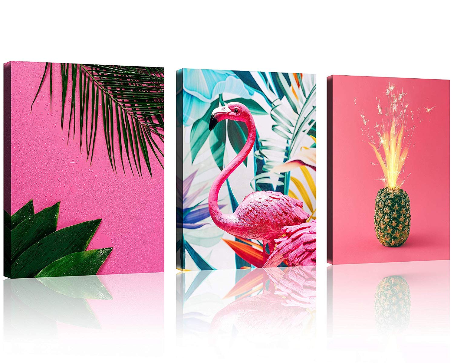 Tutubeer Plant Wall Art Pink Flamingo Decor Pineapple At Pink Background Tropical Wall Decor Plant Art 12 X 16 X 3 Pieces Canvas Pictures Prints