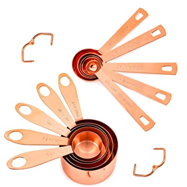 Copper Measuring Cups and Spoons, Set of 10: EXTRA STURDY Copper-Plated Top-Quality Stainless Steel. Satin + Mirror Polish. Engraved Both US and Metric Measurements. Copper Finish. By COPPER GEMZ