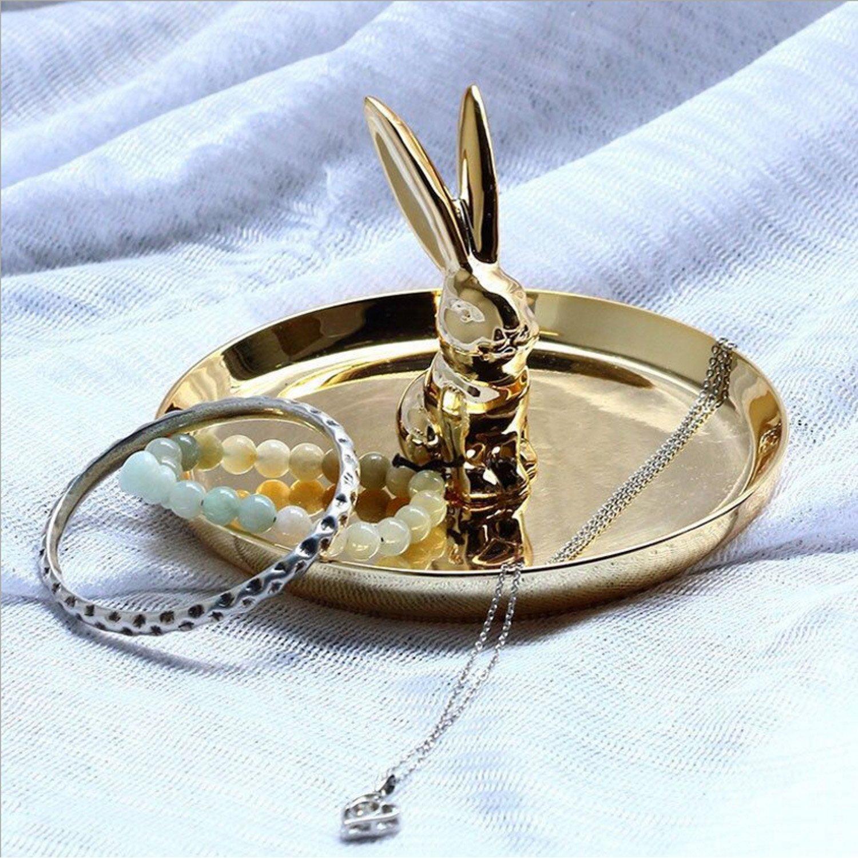Soporte de cerámica joyas anillo anillo de compromiso y anillos de boda expositor de conejo stand-golden conejo: Amazon.es: Hogar