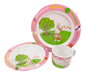 Kids Dinnerware Rabbit Bunny Plate Bowl Cup Melamine Pink Green White (3 Piece Set)  sc 1 st  Amazon.com & Amazon.com : Kids Dinnerware Rabbit Bunny Plate Bowl Cup Melamine ...