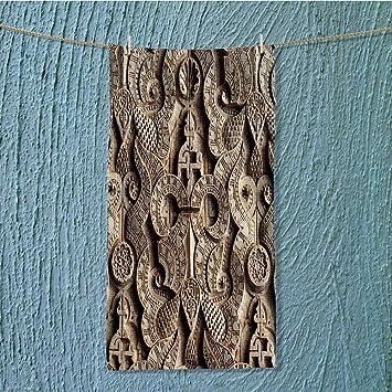AmaPark Toalla Super Absorbente con símbolos de la Isla caligrafía y geometría Sagrada adorna Las Paredes y techos Ideal para el Uso Diario DE 20 x 60 cm: ...