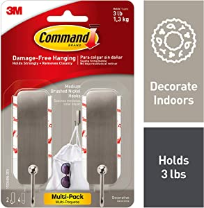Command 17034BN-2ES, 2 Hooks Per Pack Medium Brushed Nickel Decorative