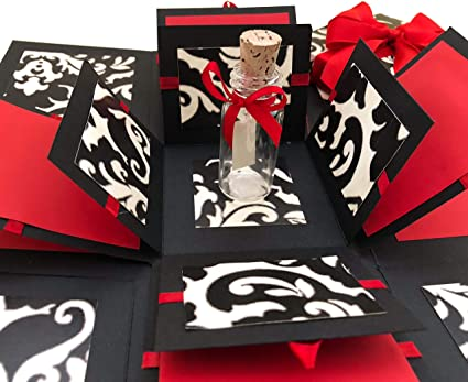 Crack of Dawn Crafts 3 Layered All Occasion Explosion Box with Message in a  Bottle - Damask Love