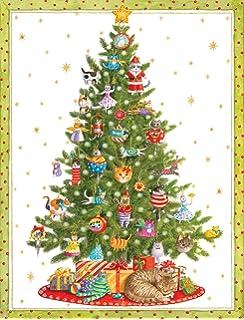amazon com entertaining with caspari cat in santa s sack christmas