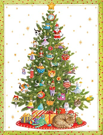 Entertaining With Caspari Cat Christmas Tree Christmas Cards, Box Of 16