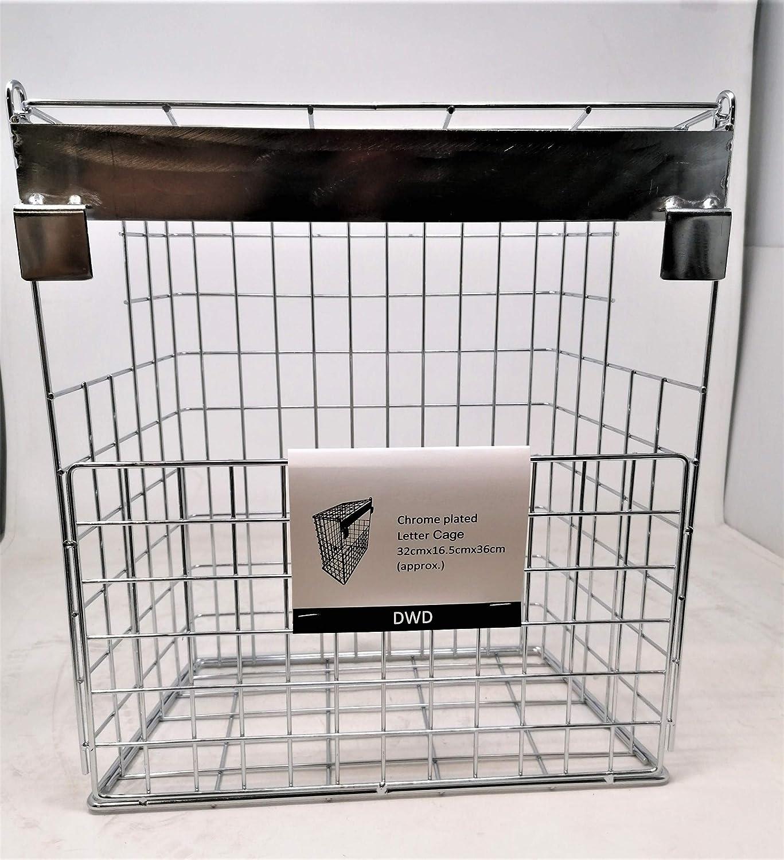 DWD cesta de acero premontada puertas compuestas en cromo apta para la mayor/ía de tipos de puertas incluyendo UPVC no requiere tornillos de fijaci/ón Jaula para buz/ón