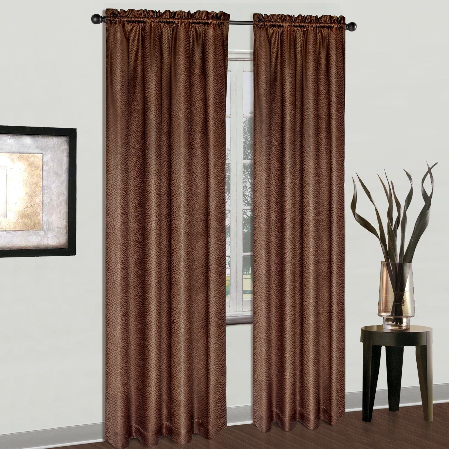 American Curtain and Home Carlton Window Curtain 54-Inch by 84-Inch Chocolate