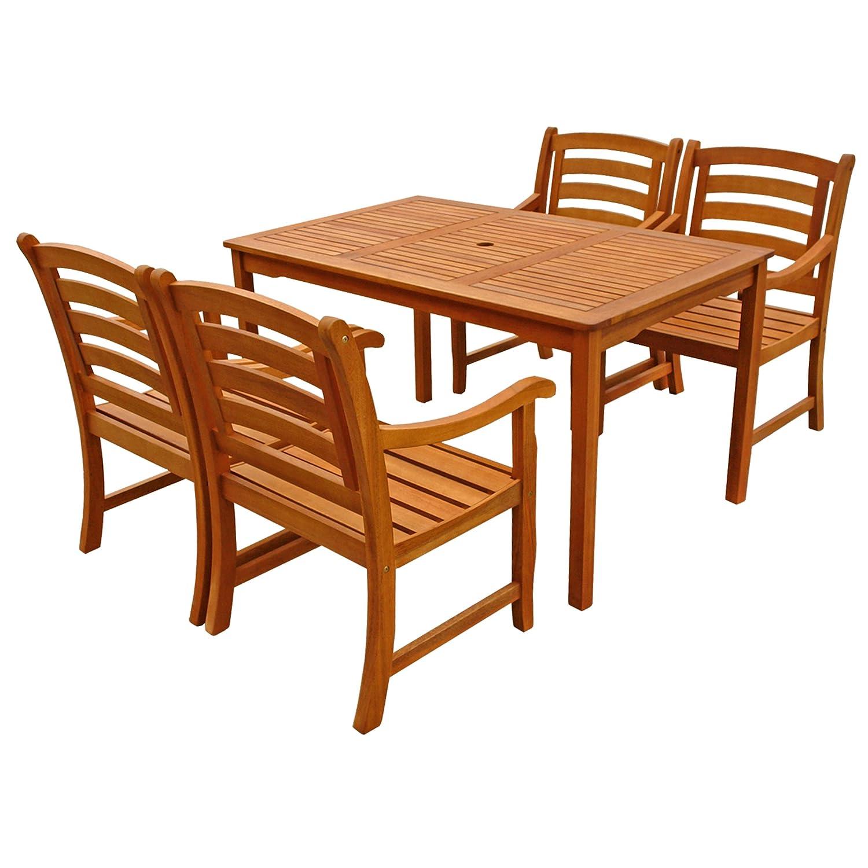 IND-70289-MOSE5ST4 Gartenmöbel Set Montana, Garten Garnitur Sitzgruppe aus Holz - 5-teilig - Tisch + 4 x Stuhl