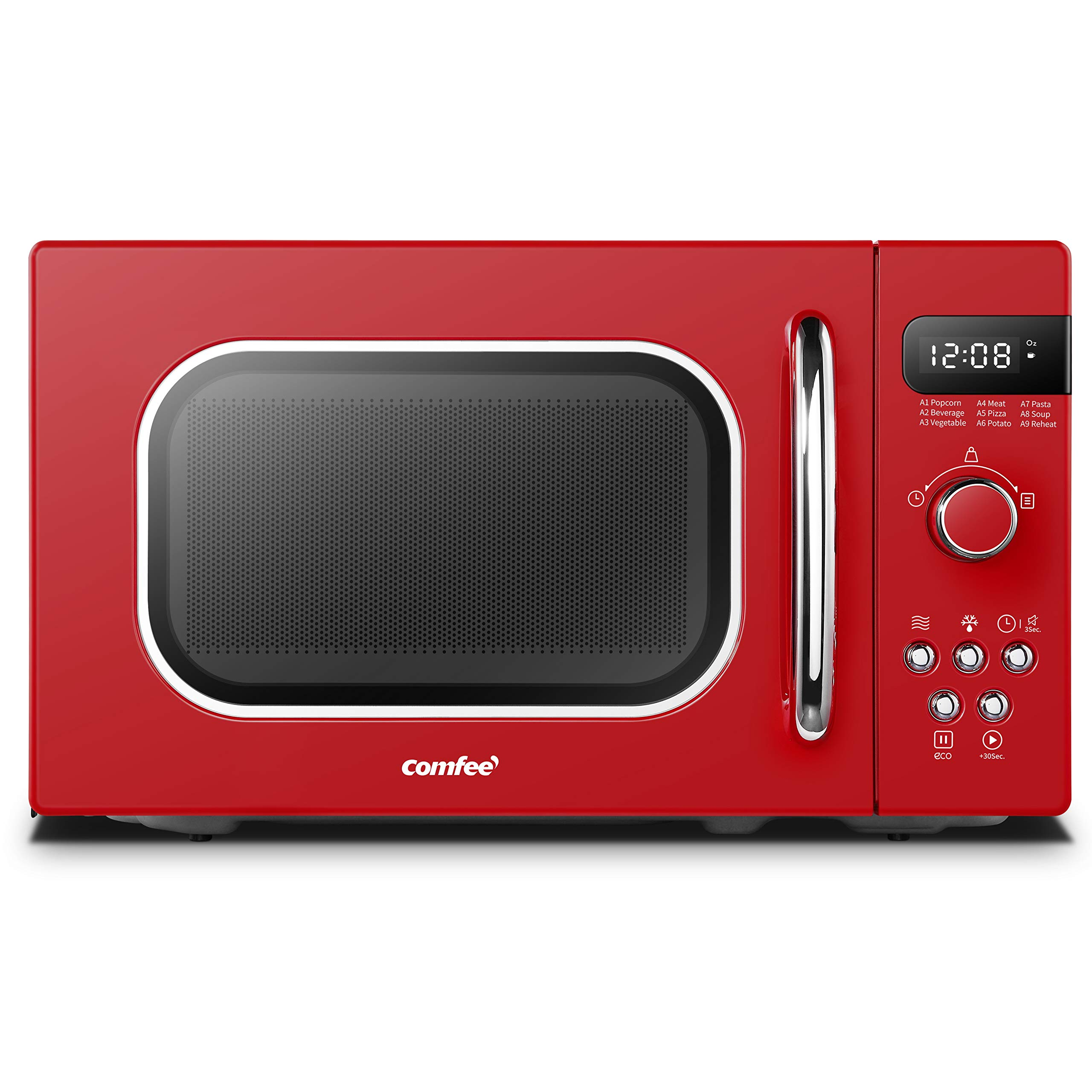 COMFEE' AM720C2RA-R Retro Style Countertop Microwave Oven with 9 Auto Menus Position-Memory Turntable, Eco Mode, and Sound On/Off (Passionate Red),0.7Cu.Ft,
