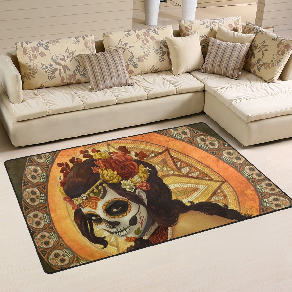 Yochoice Non-slip Area Rugs Home Decor, Vintage Retro Day of the Dead Sugar Skull Floor Mat Living Room Bedroom Carpets Doormats 60 x 39 inches