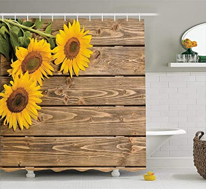 Ambesonne Sunflower Decor Collection Three Sunflowers On The Wooden Background At Left Top Corner Decorative