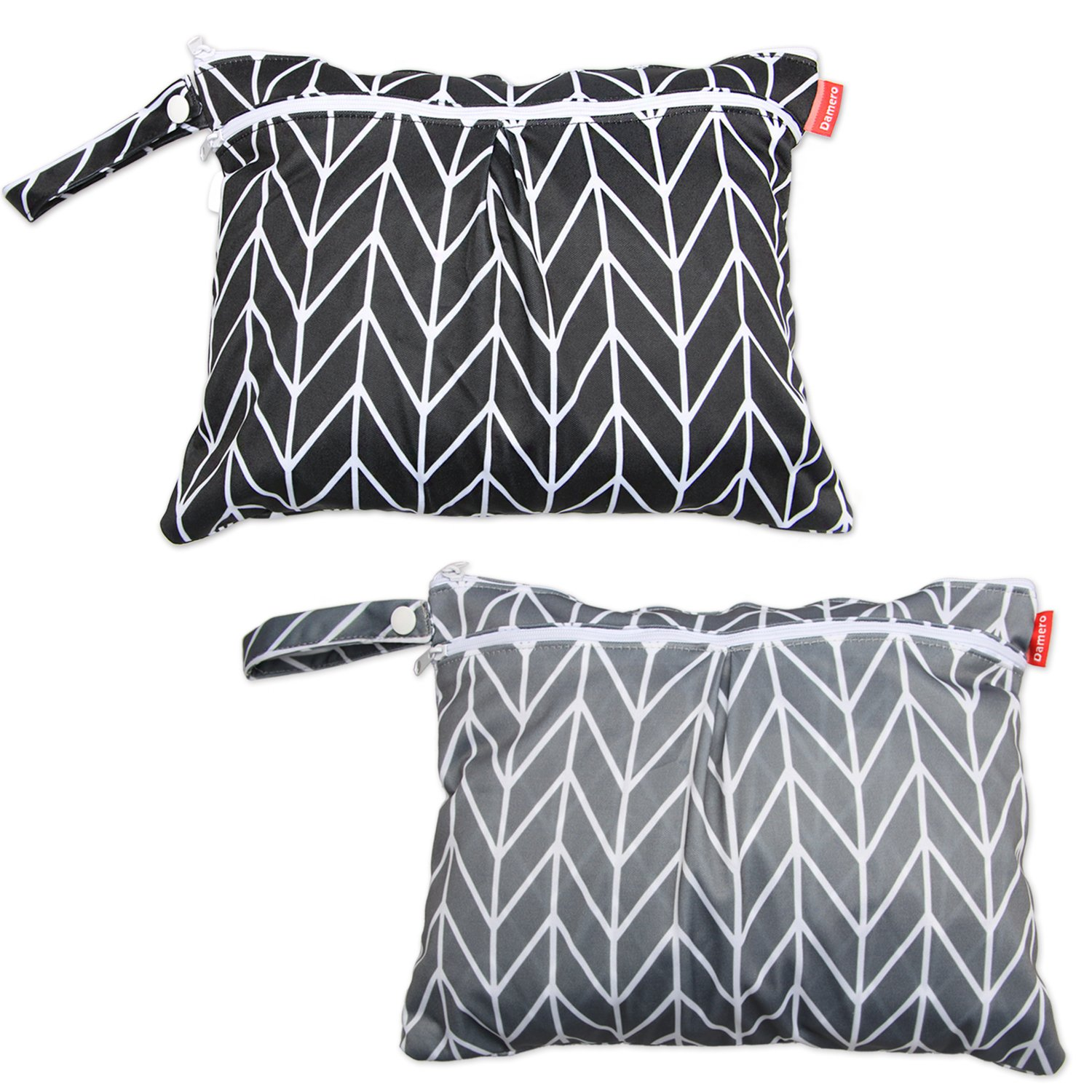 Damero 2pcs Travel Wet and Dry Bag with Handle for Cloth Diaper, Pumping Parts, Clothes, Swimsuit and More, Easy to Grab and Go (Small, Gray Arrows+ Black Arrows) by Damero