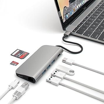 Satechi Adaptador Multi-Puertos 4K HDMI (30Hz), Aluminio, Transferencia de Paso Tipo C, Ethernet, Lector de Tarjetas SD/Micro y 3 Puertos USB 3.0 ...