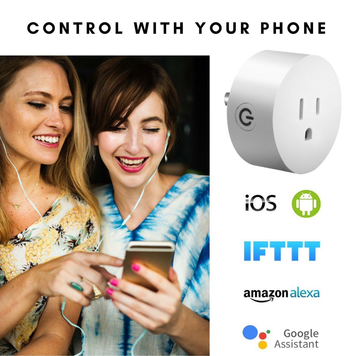 One Hour Smart Home - Smart Plug | Wifi Outlet Plug Mini Smart Socket | Voice Control | Remote & Smart Phone Controller | Works with Amazon Alexa | Amazon Echo & Google Assistant | No Hub Needed by One Hour Smart Home (Image #4)