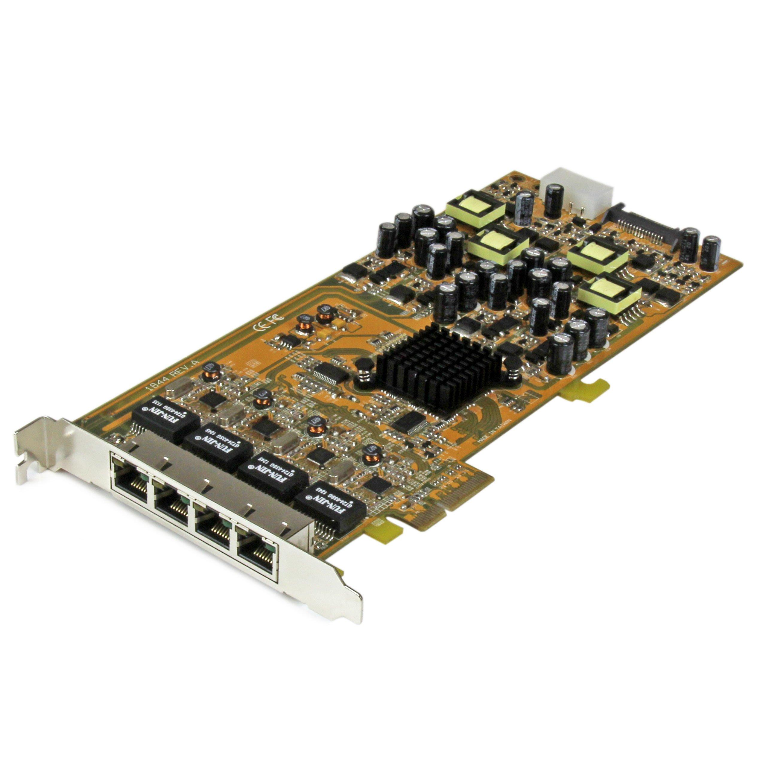 StarTech.com 4 Port Gigabit Power Ethernet PCIe Network Card - PSE / PoE PCI Express NIC (ST4000PEXPSE)