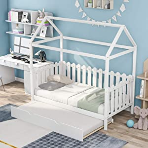P PURLOVE Twin Size Wood Bed with Trundle Bed, House Bed Frame with Fence-Shaped Guardrails for Kids Teens Girls Boys, White