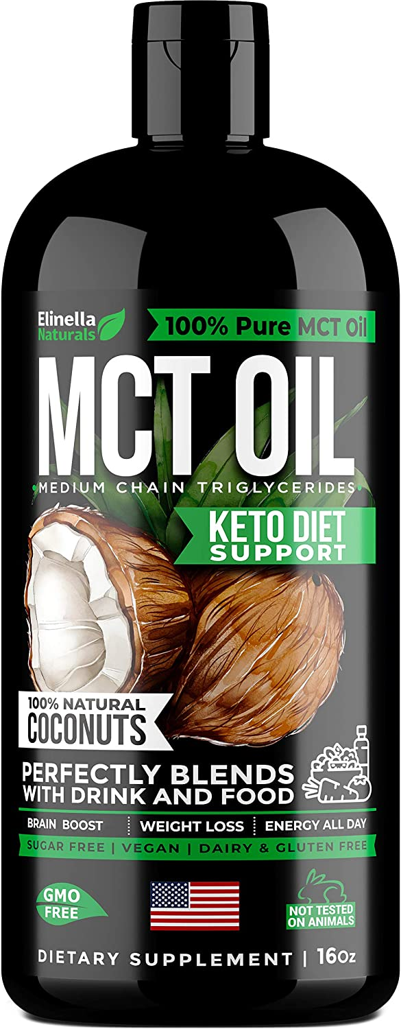 MCT Oil Keto Supplement - 100% C8 & C10 from Non-GMO Coconut - Best for Keto Shake, Coffee, Smoothies & Dressing - Keto Oil for Paleo & Keto Diet Support, Weight Loss, Brain & Energy Boost