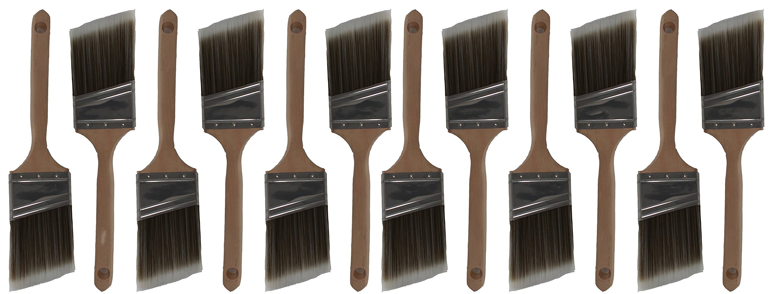 Angle Premium Wall/Trim House Paint Brush Set Great for Professional Painter And Home Owners Painting Brushes For Cabinet Decks Fences Interior Exterior & Commercial Paintbrush. (12Ea 2.5A)