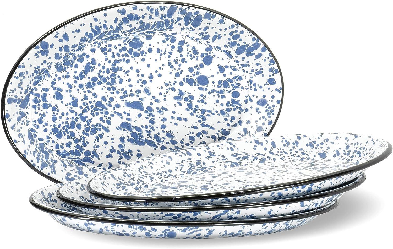 Red Co. Enamelware Metal Classic 13 inch Serving Oval Tray Platter, Navy Blue Marble/Black Rim - Splatter Design - Set of 4